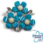 Forget Me Not / Forgetmenot Flower Brooch in Silver, Turquoise and Amber - Default Title