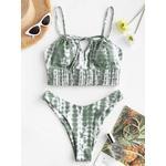 ZAFUL Streak Dye Shirred Detail High Cut Tankini Swimwear