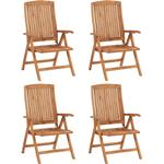 vidaXL Reclining Garden Chairs 4 pcs Solid Teak Wood - Brown