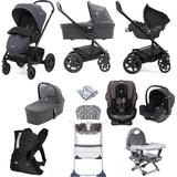 Joie Chrome DLX (i-Snug & Every Stage Car Seat) Everything You Need Travel System Bundle with Carrycot - Pavement