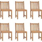 Garden Chairs 6 pcs Solid Teak Wood - Brown - Vidaxl