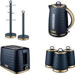 Tower EMPIRE Midnight BLUE Kettle 2 Slice Toaster Canisters Towel Pole & Mug Tree