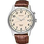 SEIKO Mens Analogue Kinetic Watch with Leather Strap SKA779P1