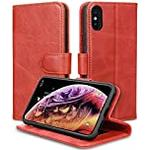 JISON21 iPhone Xs/iPhone X Case Genuine Leather Wallet with Viewing Stand and Card Slots Magnetic Closure for iPhone Xs/X (Red)