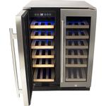 electriQ 36 Bottle Freestanding Under Counter Wine Cooler Dual Zone 60cm Wide 82cm Tall - Stainless Steel
