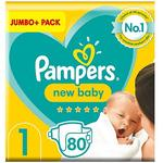 Pampers New Baby Size 1, 80 Nappies, 2kg-5kg, Jumbo+ Pack