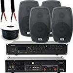 400W POWERFUL Outdoor Bluetooth Sound System | 2 Channel Mixer Amplifier Kit | 4x 120W Black Speaker | LOUD Wireless External Music Amp | Weatherproof Garden Party Event Home HiFi Audio | Echo Alexa