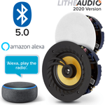"Lithe Audio 6.5"" Bluetooth Ceiling Speakers (Pair) + Echo Dot 3rd"