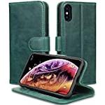 JISON21 iPhone Xs/iPhone X Case Genuine Leather Wallet with Viewing Stand and Card Slots Magnetic Closure for iPhone Xs/X (Green)