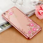 (Apple iPhone XR, Rose Gold) Flower Bling Crystal Diamonds Plating Soft TPU Cover Case Glitter Silicon ShockProof + Screen Protector For Apple iPhone X XR XS MAX 8 Plus 7 6 6s