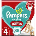 Pampers Baby-Dry Nappy Pants Size 4, 38 Nappies, 9kg-15kg, Essential Pack