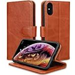 JISON21 iPhone Xs/iPhone X Case Genuine Leather Wallet with Viewing Stand and Card Slots Magnetic Closure for iPhone Xs/X (Brown)