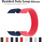 Braided Solo Loop Strap Silicone Elastic Bracelet Watch Band for iWatch Apple Watch Series 6 SE 5 4 3 38 40 42 44mm