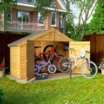 Bike sheds Outbuildings Mini Keeper Overlap Apex Wooden Small Store Sheds 3 x 8 Bike Storage - BillyOh