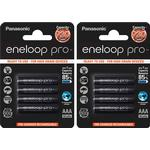 Panasonic Eneloop PRO AAA Rechargeable NiMh Batteries 930mAh Capacity - Extra Value 8 Pack