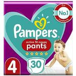 Pampers Active Fit Nappy Pants Size 4, 30 Nappies, 9-15kg, Essential Pack