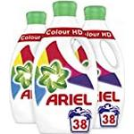 Ariel Washing Liquid Colour HD 38 Washes, Gives You Outstanding Stain Removal In The First Wash, 1.33 Litre, Pack of 3