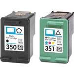 HP No 350 Black Cb335Ee + No 351 Colour Cb337Ee Ink Cartridge Set Remanufactured