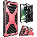 i-Blason iPhone SE 2020 Case/iPhone 8 Case/iPhone 7 Case, Transformer [Kickstand] [Heavy Duty] [Dual Layer] Combo Holster Cover case with [Locking Belt Swivel Clip] (Pink)