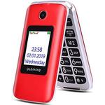 3G Big Button Basic Mobile Phones for Elderly, Dual Sim Free Flip up Mobile Phone Unlocked with Dock,Pay As You Go Mobile Phone Easy to Use for Senior (Red) - Good