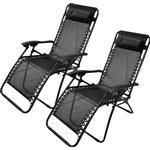 (2 x Chairs) Textoline Zero Gravity Deck Chair Recliner Sun Lounger Outdoor Garden Patio