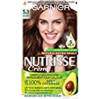 Garnier Nutrisse Brown Hair Dye Permanent, Up to 100% Grey Hair Coverage, with 4 Oils Conditioner - 5.3 Golden Brown