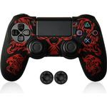 PS4/Slim/Pro Controller Dragon Patroon Siliconen Beschermhoes Skin voor Sony Playstation 4 PS4 Controller - Rood
