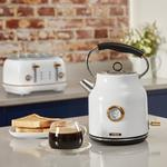 Tower ROSE GOLD WHITE 1.7L Quiet Boil Kettle & 4 Slice Toaster