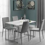 Angeles Gloss Marble Effect Dining Table With 4 Grey Chair