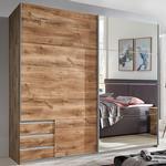 Seattle Sliding Door Mirrored Wardrobe In Planked Oak