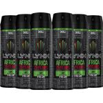 6pk Lynx XL Africa Body Spray Deodorant - 6 x 200ml