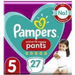 Pampers Active Fit Nappy Pants Size 5, 27 Nappies, 12-17kg, Essential Pack