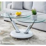 Tokyo Twist Glass Top Coffee Table With High Gloss White Base