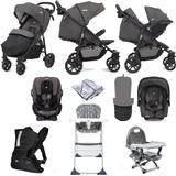 Joie Litetrax 4 Wheel (Gemm + Every Stage) Everything You Need Travel System Bundle - Coal