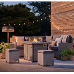 Kettler Palma Mini Corner White Wash Wicker Outdoor Sofa Set with Fire Pit Table