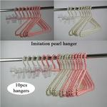 Pearl Fashion lady Garment bead hangers 10pcs Household Wardrobe Storage Imitation pearl Plastic clothes hanger for store