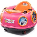 360-Degree Rotation Spin Battery Powered Kids Electric Ride On Waltzer Toy Swing Car with Joystick and Remote Control - Pink
