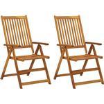 vidaXL 2x Solid Acacia Wood Garden Reclining Chairs Outdoor Seating Furniture
