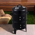 BBQ Smoker Upright Barrel Black Charcoal 3 in 1 Barbecue Grill Round Garden Outdoor Patio Camping Cooking Firepit