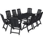 vidaXL 11 Piece Outdoor Dining Set Plastic Anthracite