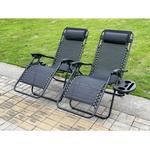 (Black) 2 PC Folding Chair Adjustable Sun Lounger With Cup Holder