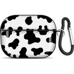 AirPods Pro Protective Case with Keychain, Cow Print Full Cover Shell for Apple AirPods Pro 2019 Charging Case