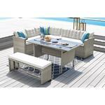 9-Seater Grey Rattan Corner Dining Set   Brown   Living Social
