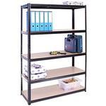 Garage Shelving Units: 180cm x 120cm x 45cm | Heavy Duty Racking Shelves for Storage - 1 Bay, Black 5 Tier (175KG Per Shelf), 875KG Capacity | For W
