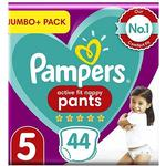 Pampers Active Fit Nappy Pants Size 5, 44 Nappies, 12kg-17kg, Jumbo+ Pack