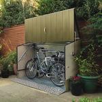 6'4 x 2'9 Trimetals Ramped Metal Bike Shed - Green (1.95m x 0.88m)