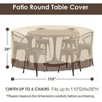 Round patio furniture cover, 100% waterproof outdoor table and chair cover, outdoor furniture cover, fade-resistant cover, UV protection, 62 inches