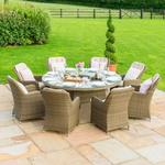 Maze Rattan Garden Winchester Round Table with 8 Venice Chairs & Ice Bucket