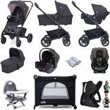 Joie Chrome Trio (I-Snug & Every Stage) Everything You Need Travel System Bundle With Carrycot - Ember