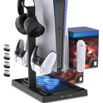 Charging Stand Cooling Fan PS5/PS5 Digital Edition Console,Controller,Vertical Dual Controller Charger Ports,15 Game Slots, Remote Dock,Headset Stand